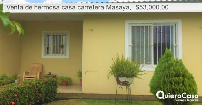 Venta de hermosa casa carretera Masaya,- $53,000.00