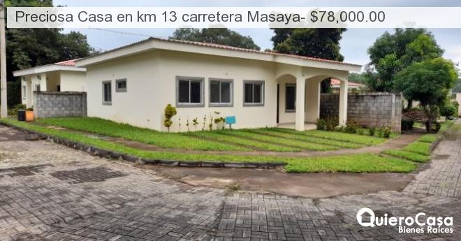 Preciosa Casa en km 13 carretera Masaya- $78,000.00
